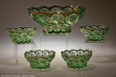 c. 1904 S-REPEAT by Dugan - Diamond GREEN w/GOLD 5 Piece Berry Set