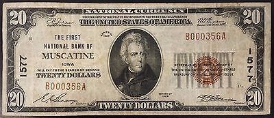 1929 Twenty Dollars Nat'l Currency, The First National Bank of Muscatine, Iowa!