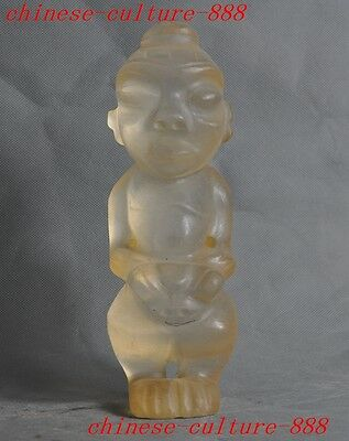 China Chinese Hongshan Culture crystal hand carved beast head man people statue