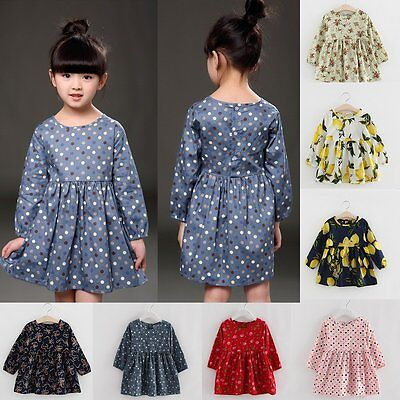 Toddler Baby Flower Girls Kids Clothes Long Sleeve Party Princess Tutu Dress