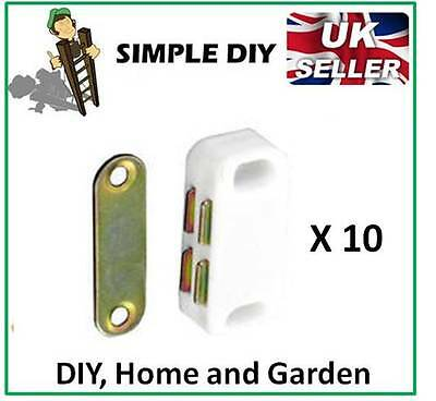Magnetic Catch Cupboard Door Latch White Cabinet Catch Magnet Strong Small x 10