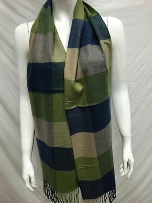 100% Cashmere Scarf Made In Scotland Checked Design Color Green Navy Super Soft