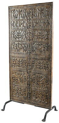 """37"""" L Genesis antique doors on iron stand brown hand carved crafted unique"""