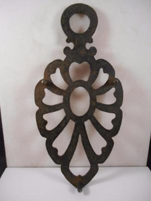 Grandmas Vintage Cast Iron Scalloped Iron Shaped Trivet