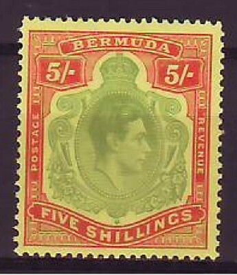 a102 - BERMUDA - SG118f MNH 1950 5/- PERF 13 YELLOW GREEN & RED/PALE YELLOW