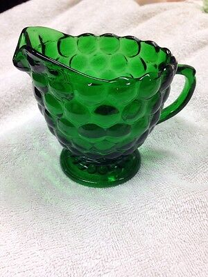 Vintage Anchor Hocking, Bubble pattern, Forest Green Glass, Footed Creamer