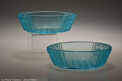 c. 1886 No. 24 TWO PANEL by King & Son BLUE Two - Flat Sauce / Berry Bowls