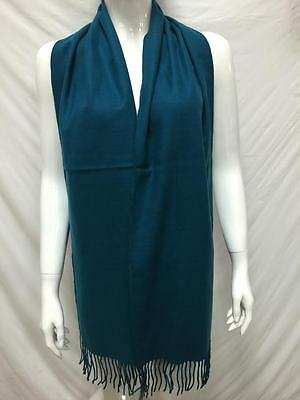 100% Cashmere Scarf Made In Scotland Plain Solid Design Color Teal Navy Soft