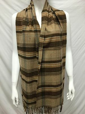 100% Cashmere Scarf Made In Scotland Plaid Design Color Light Brown Unisex Soft