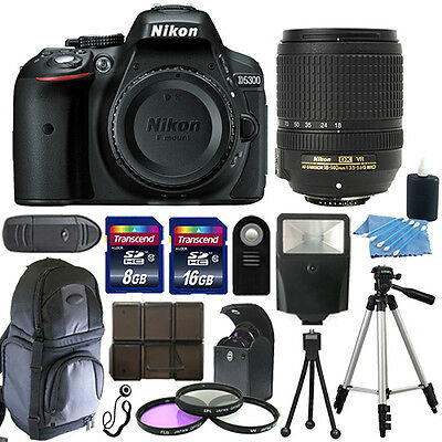 Nikon D5300 Digital SLR Camera Black + 18-140mm VR Lens + 24GB Bundle