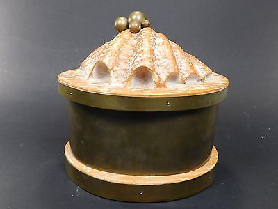 Large Vintage Shell Clamshell Box Cerused Wood Brass Pearls Lid Table Top BC60