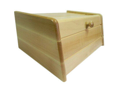 Wooden Bread Box Apollo Drop Down Front Bin Storage Loaf Large Light