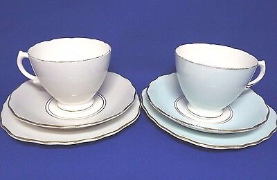 Vintage 1950s ROYAL VALE Pair of HARLEQUIN PASTEL TRIOS (Grey, Blue) 1950s VGC