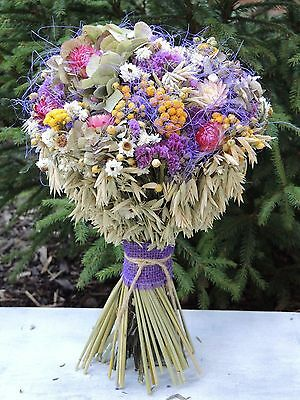"""Dried Flowers Bridal Bouquet with Hydrangea Centrepiece Chabby Chic 14"""""""