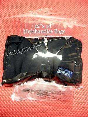 100 SELF SEALING 12x18 CLEAR CELLO MERCHANDISE BAGS + WARNING 1.5 MIL RESEALABLE
