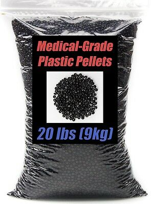 Black Plastic Pellets 20lbs. Machine Washable. Medical Grade. Hypoallergenic.