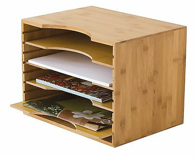 Lipper 1811 Bamboo File Organizer With 4 Adjustable Dividers