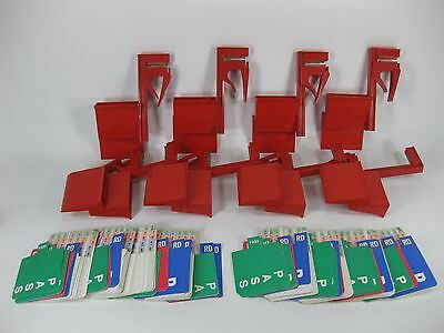 Vintage Bridge Card Game Red Plastic Holders Table Clamp w/ Cards