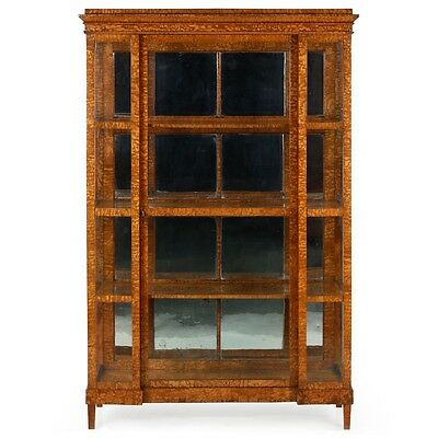 Exquisite Biedermeier Antique Olivewood Vitrine Bookcase Cabinet, 19th Century