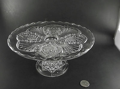 "Antique Eapg 9.5"" Dia Patterned Footed Cake Stand"