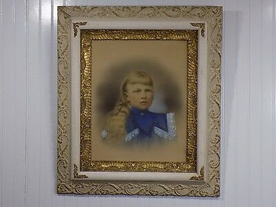 Stunning Framed Antique Victorian Chalk / Pencil Drawing Portrait of Young Girl