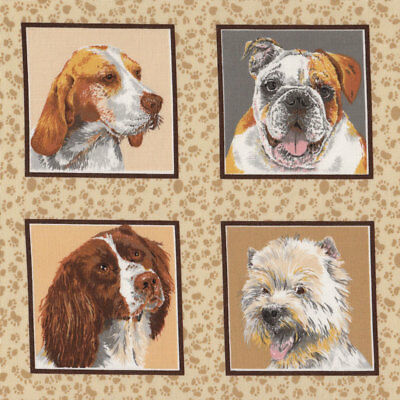 Dogs in Squares Westie Terrier Border Collie Bulldog Quilt Fabric FQ or Metre *N