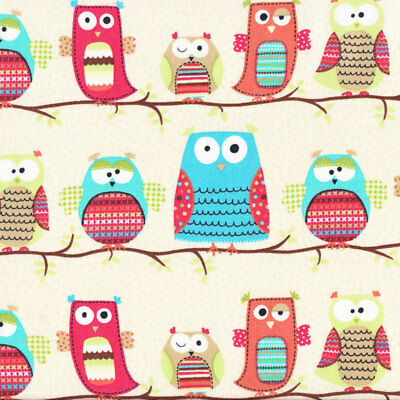 Owls on Tree Branches Organic Cotton Quilt Fabric FQ or Metre *New*