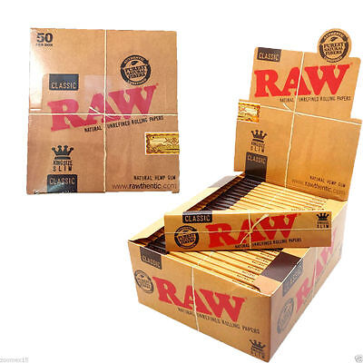 50 x RAW King Size Slim Classic Natural Unrefined Rizla Rolling Papers FULL BOX