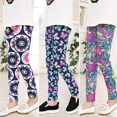 Baby Girls Cotton Pants Flower Warm Leggings Toddler Kids Trousers Bottoms 1-12Y