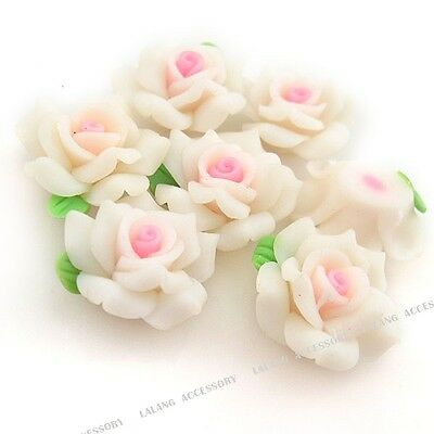 20pcs Wholesale White Flower Green Leaves Fimo Polymer Clay Beads Fit Jewelry J