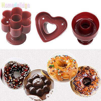 3 Shape Donut Maker Cookies Cutter Pastry Pudding Cake Decor Diy Mold Mould Tool