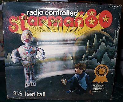 Vintage 1979 Radio Controlled Starman 80 3.5 Foot Blow Up Robot New In Box