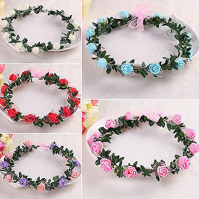 Women BOHO Flower Girls Festival Wedding Flower Hair Headband Crown Prop Garland