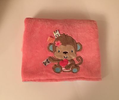 Taggies monkey coral pink turquoise blue flowers soft baby blanket taggies monkey coral pinkturquoise soft baby blanket mightylinksfo