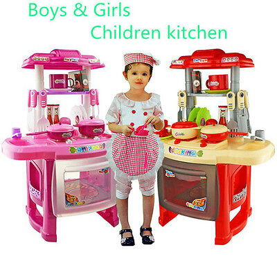 Pink Children Kids Kitchen Cooking Girl Xmas Role Play Toy Cooker Play Set Gift