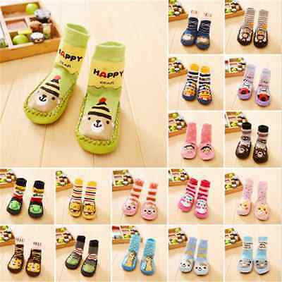 Soft Baby Kids Toddler Girl Boy Anti-slip Shoes Boots Slipper Socks 0-24 Months