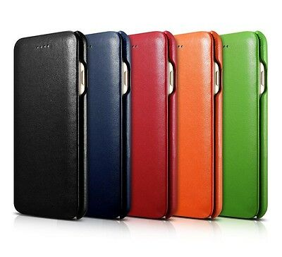 Genuine Real Leather Flip Folio Curved Edge Cover Case for iPhone 7/8 & 7/8 Plus