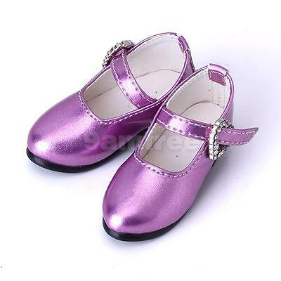 1/4 BJD girl Doll Shoes Purple PU leather heart buckle for Mary Jane MSD Dollfie