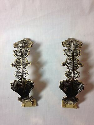 Vintage Brass Robe Towel Wall Holders Curtain Rod Fern Pattern