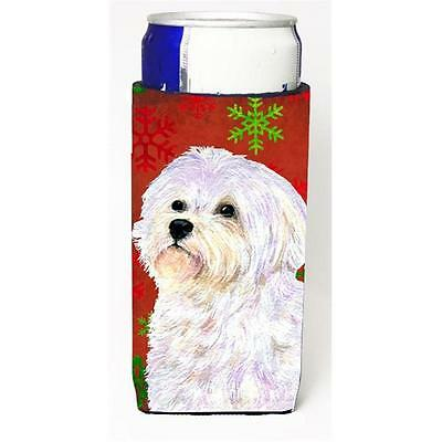 Maltese Red And Green Snowflakes Holiday Christmas Michelob Ultra bottle slee...