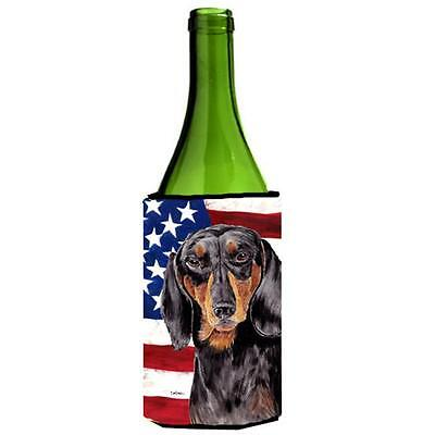 USA American Flag With Dachshund Wine bottle sleeve Hugger 24 oz.