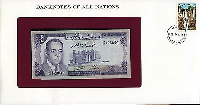 """Morocco ~ 1970 ~ 5 Dirhams Note ~ Cu ~ """"banknotes Of All Nations"""""""