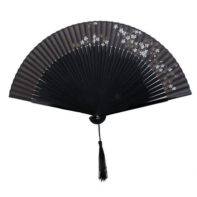 Vintage Chinese Japanese Sakura Flower Silk Bamboo Folding Hand Pocket Fan