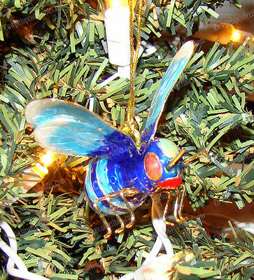 Baked Enamel Hand Crafted Blue Bee (Kubla Craft, 4823BB) Hanging Garden Ornament