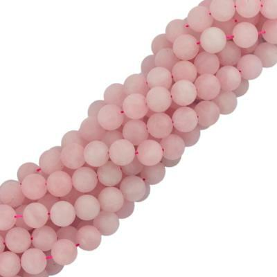 6mm Cabochon Matte Rose Quartz Gemstone Loose Beads Strand 15''