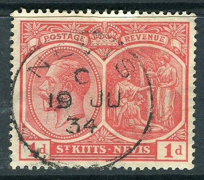 ST.KITTS & NEVIS;  1921-29 early GV issue fine used  1d. value