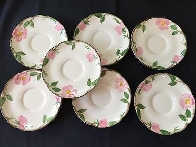 "FRANCISCAN pottery desert rose 7 saucers made in USA California 6"" art pink"
