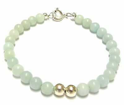 Amazonite Bracelet, Genuine Semi-precious Gemstone Beads, Sterling Silver