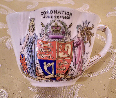 "Antique FOLEY CHINA (Wileman & Co.) ""Edward VII Coronation"" TEA CUP from 1902"