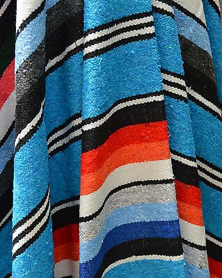 ALL COTTON Premium Handwoven Authentic Mexican Blanket Throw Yoga Turquoise Red